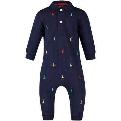 Picture of Ralph Lauren 320570117 baby playsuit navy