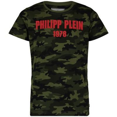 Picture of Philipp Plein BTK0670 kids t-shirt army