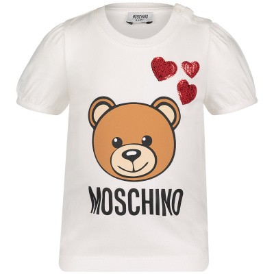 Afbeelding van Moschino MDM02A baby t-shirt off white