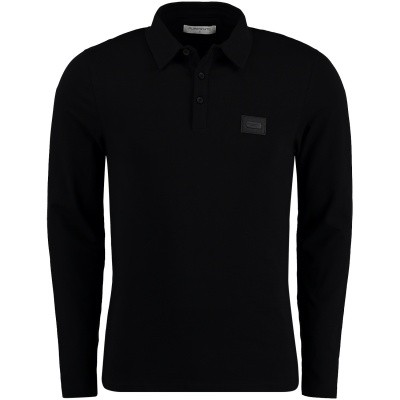 Picture of Pure White POLO LS mens polo shirt black