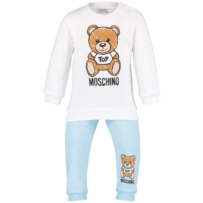 Picture of Moschino MZK019 baby sweatsuit light blue