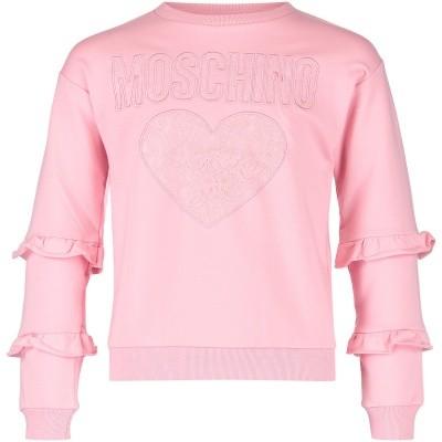 Afbeelding van Moschino HDF01V kindertrui licht roze