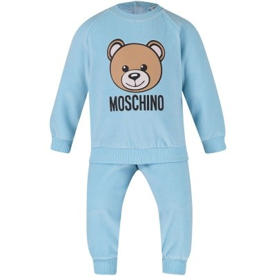 Picture of Moschino MUK01V baby sweatsuit light blue