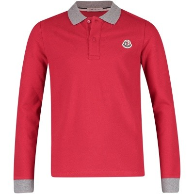 Picture of Moncler 8307750 kids polo shirt red