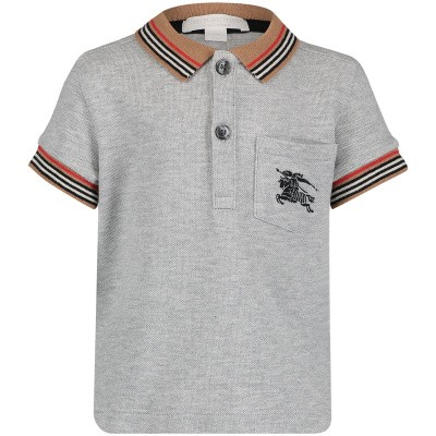 Picture of Burberry 8002858 baby poloshirt grey