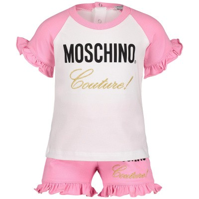 Picture of Moschino MDK01G baby set pink