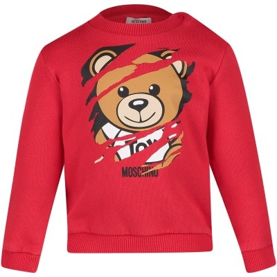 Picture of Moschino M6F00T baby sweater red