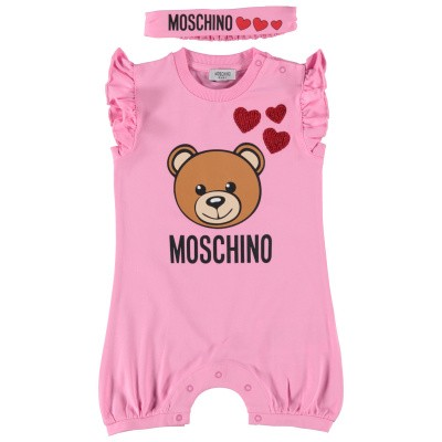 Picture of Moschino MDY00F baby playsuit pink