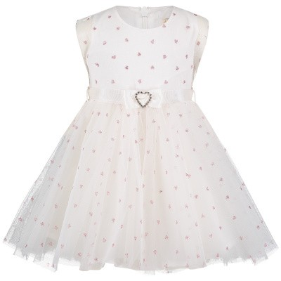 Picture of MonnaLisa 733908 baby dress off white