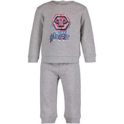 Picture of Philipp Plein AJJ0013 baby sweatsuit grey