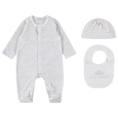 Picture of Dolce & Gabbana L1JG06 baby playsuit light gray