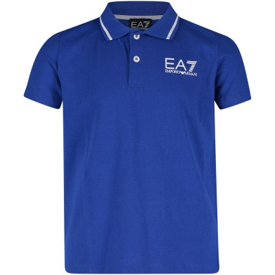 Picture of EA7 3GBF51 kids polo shirt cobalt blue
