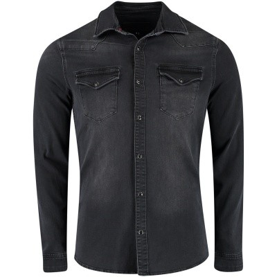 Afbeelding van Pure White 18030211 heren overhemd zwart