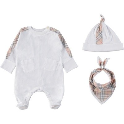 Picture of Burberry 8004475 baby playsuit white