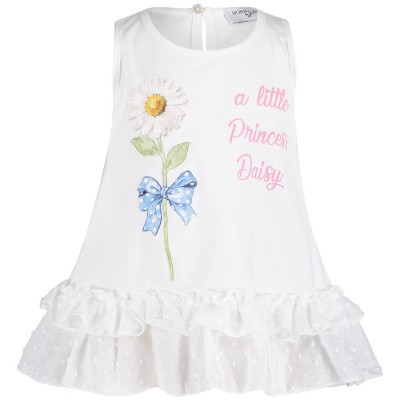 Picture of MonnaLisa 393602S6 baby tunic white
