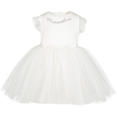 Picture of MonnaLisa 733902 baby dress off white