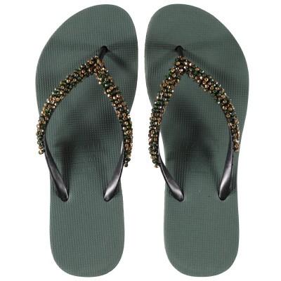 Afbeelding van UZURII PRECIOUS CLASSIC GOLD dames slippers groen