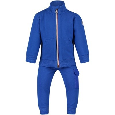 Picture of Moncler 8800805 baby sweatsuit cobalt blue