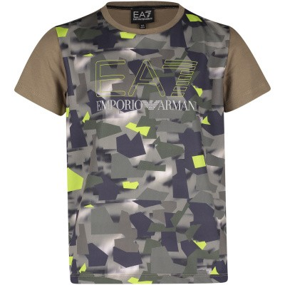 Afbeelding van EA7 3GBT54 kinder t-shirt army