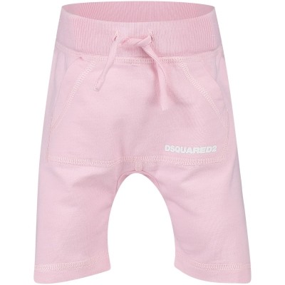 Afbeelding van Dsquared2 DQ025L baby joggingshorts licht roze