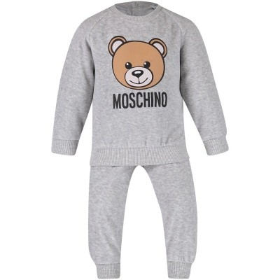 Picture of Moschino MUK01V baby sweatsuit grey