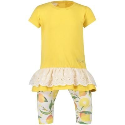 Afbeelding van Liu Jo H18067 baby top+legging geel