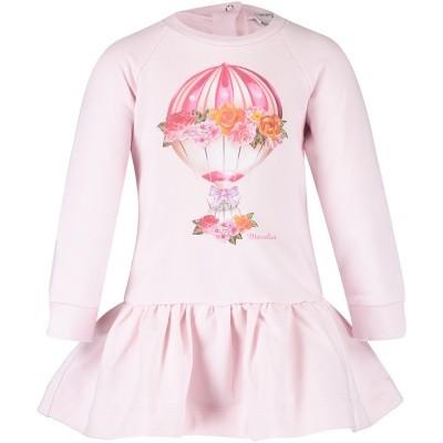 Afbeelding van MonnaLisa 392900S9 babyjurkje licht roze