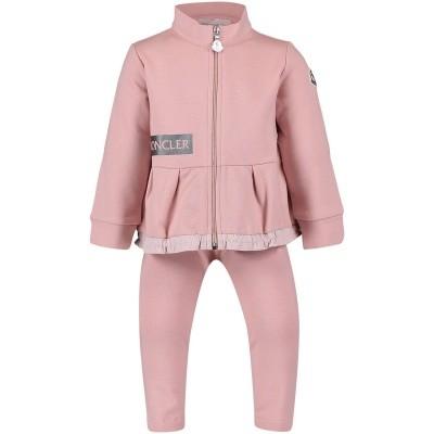 Afbeelding van Moncler 8857650 baby joggingpak licht roze