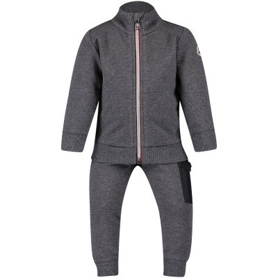 Picture of Moncler 8800805 baby sweatsuit light gray