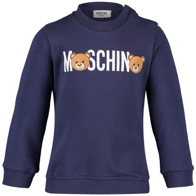 Picture of Moschino MNF02P baby sweater blue