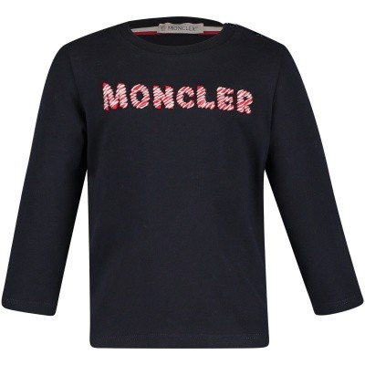Picture of Moncler 8022850 baby shirt navy