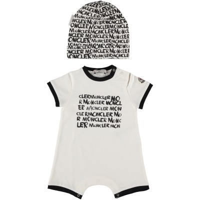 Picture of Moncler 8813406 baby playsuit white