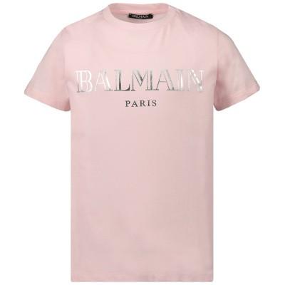 Picture of Balmain 6L8021 kids t-shirt light pink