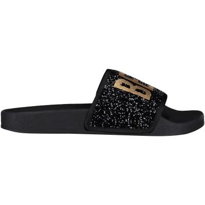 Afbeelding van The white Brand GLITTER BP dames slippers zwart