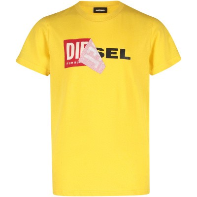 Picture of Diesel 00J3ZN kids t-shirt yellow