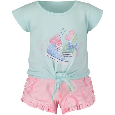 Afbeelding van Lapin 81E5407 baby t-shirt+shorts mint