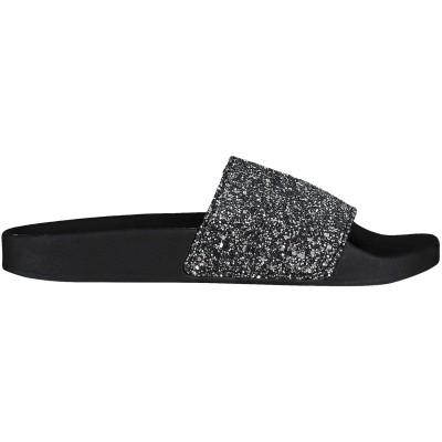 Afbeelding van The white Brand MULTI GLITTER dames slippers zwart