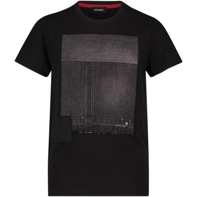 Afbeelding van Diesel 00J3T2KYAMN kinder t-shirt zwart