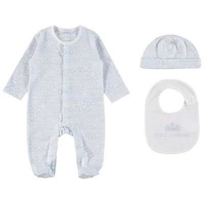 Picture of Dolce & Gabbana L1JG06 baby playsuit light blue