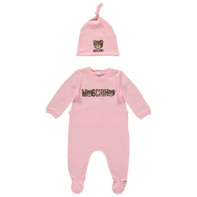 Picture of Moschino MDY00I baby playsuit light pink