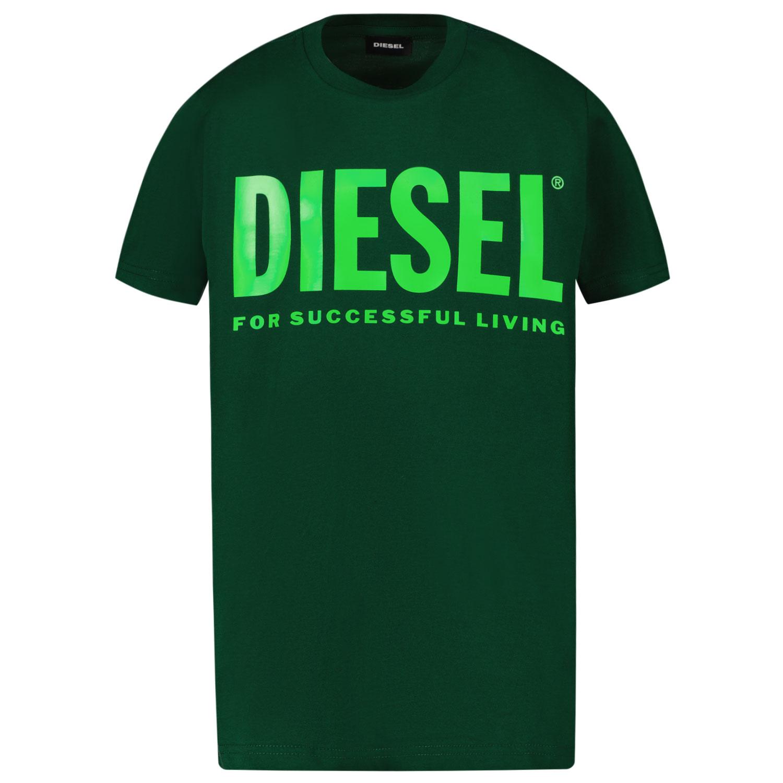 Afbeelding van Diesel 00J4P6 kinder t-shirt donker groen