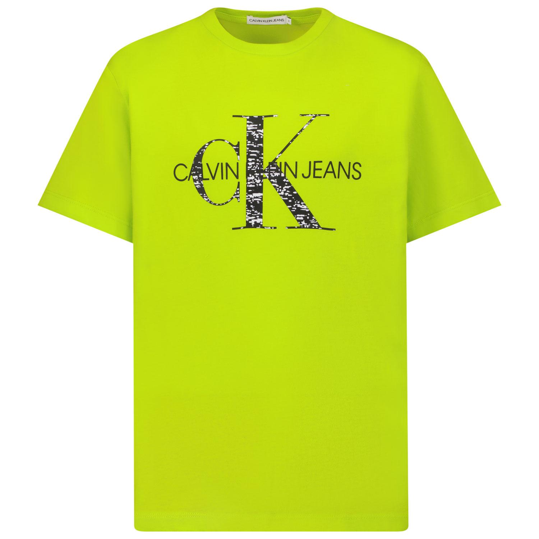 Afbeelding van Calvin Klein IB0IB00999 kinder t-shirt fluor groen