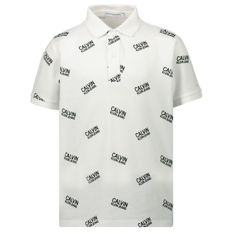 Afbeelding van Calvin Klein IB0IB00378 kinder polo wit