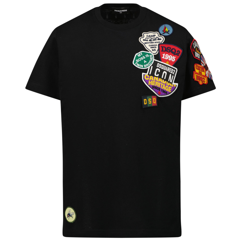 Afbeelding van Dsquared2 DQ0332 kinder t-shirt zwart