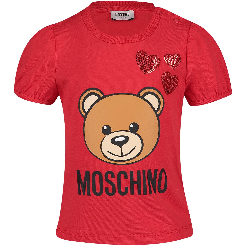 Afbeelding van Moschino MDM02A baby t-shirt rood
