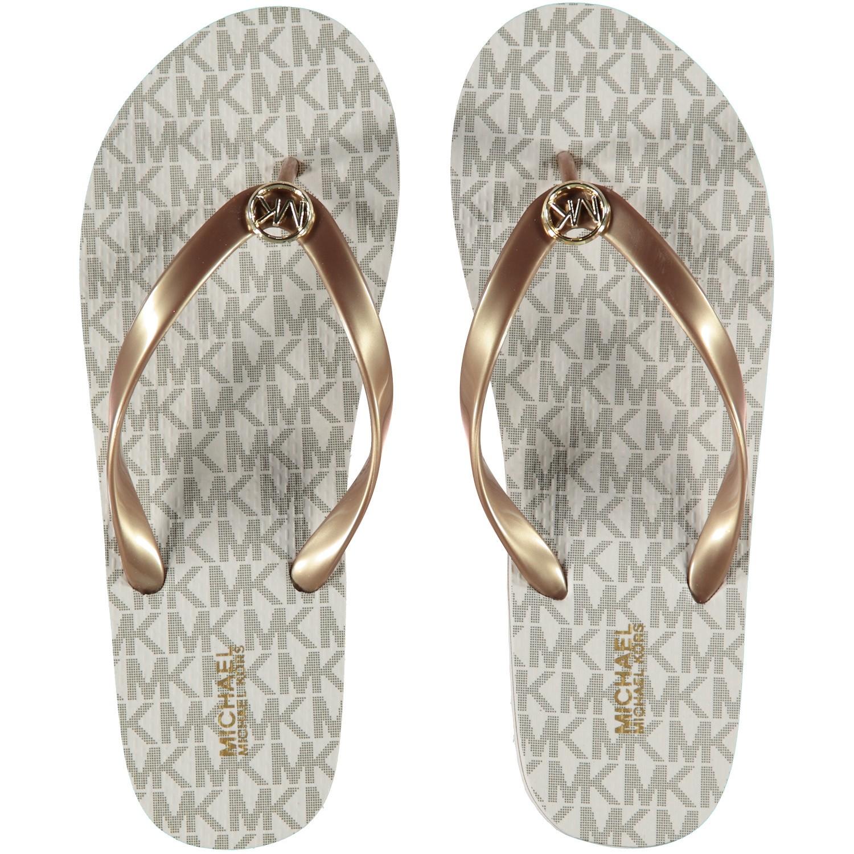 Afbeelding van Michael Kors 40S7MKFA4Q dames slippers off white