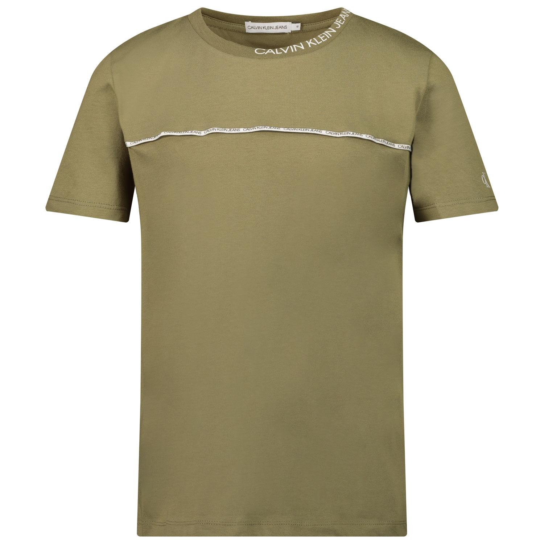Afbeelding van Calvin Klein IB0IB00695 kinder t-shirt olijf groen
