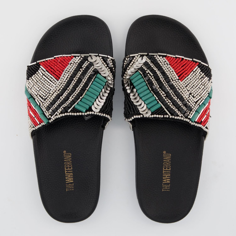 Afbeelding van The White Brand L0360 dames slippers zwart/rood