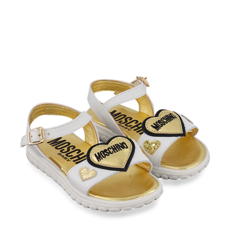 Afbeelding van Moschino 67352 kindersandalen wit/goud