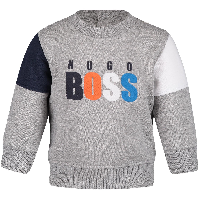 Afbeelding van Boss J05705 baby trui grijs